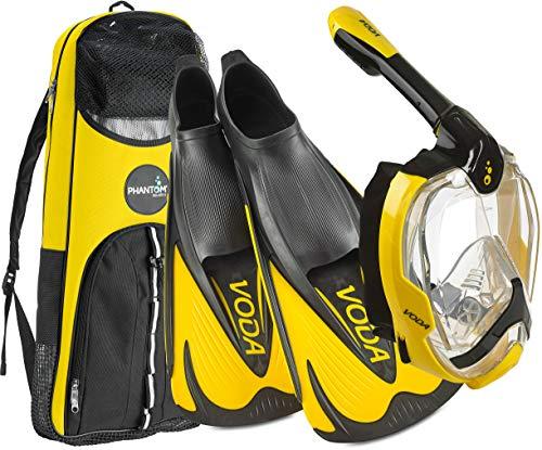 Phantom Aquatics Máscara de snorkel de rosto inteiro com design italiano, máscara de snorkel dobrável com visão panorâmica de 180 graus, conjunto de snorkel, BK-YL - 42