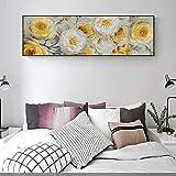 Pintura al óleo abstracta de la lona de la rosa amarilla Graffiti Flores Cuadros Impresiones horizontales para la sala de estar Decoración del hogar Imágenes de arte de la pared 50x150cm Sin marco
