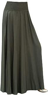 TOPUNDER Maxi Skirts for Women Solid Flare Hem High Waist Midi Skirt Sexy Pleated Skirt