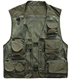 Memoryee Uomo Multi-Tasche Leggero da Viaggio all'aperto Pesca Maglia Giubbotti Traspirante/ArmyGreen/M