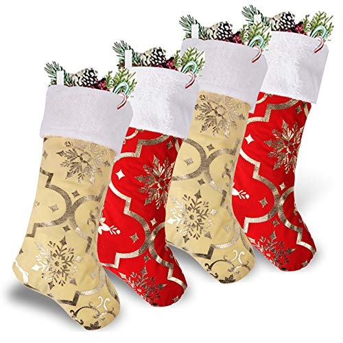 WUJOMZ Set of 4 Christmas Stockings for Christmas Decorations,Red and Golden