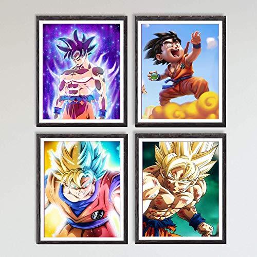 Japanese Manga Anime Ultra Dragon Ball Hero Son Goku Canvas Art Print for Wall Decoration,8 x 10 Inches,No Frame,Set of 4
