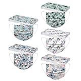 50PC Floral Disposable Face_Masks Adult Women Men Flowers Print Design 3 Ply Breathable Full Protection Light Weight Fashion (Mix 09, 50PC)