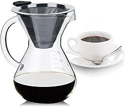 Koffiezetapparaat, Koffiezetter met Roestvrijstalen Filter en Handvat Glas Hand Drip Koffiezetapparaat Giet Over Koffie Br...