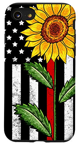 iPhone SE (2020) / 7 / 8 Sunflower Red Line US Flag Firefighter Fireman Wife Gift Case