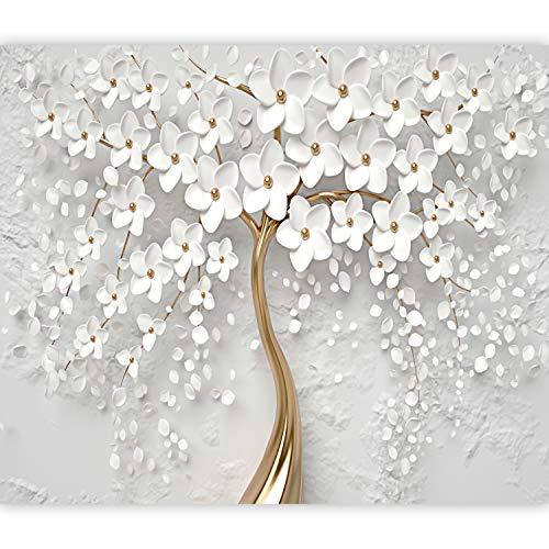 murando Papier peint intissé Fleurs Magnolia 350x256 cm Décoration Murale XXL Poster Tableaux Muraux Tapisserie Photo Trompe l'oeil Orient oro blanc b-B-0475-a-a