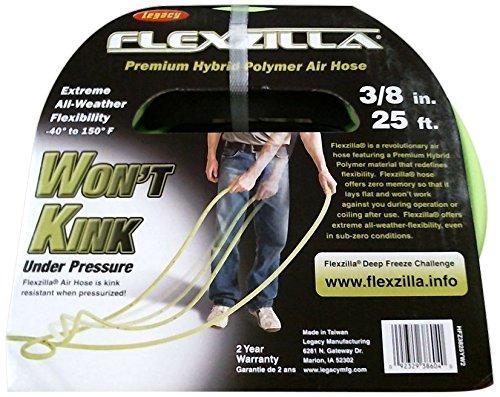 Flexzilla Air Hose, 3/8 in. x 25 ft, 1/4 in. MNPT Fittings, Heavy Duty, Lightweight, Hybrid, ZillaGreen - HFZ3825YW2