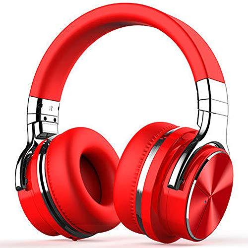 QNSQ Bluetooth-headset voor subwoofer, draadloze headset met actieve ruisonderdrukking, boven het hoofd gemonteerd, hifi-stereo-geluidskwaliteit, size, rood