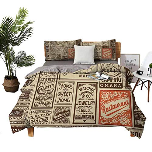 """Antique 3-piece set of 100% washed microfiber Mega Pack Old Advertisement Designs Labels Collections Newspaper Nostalgia Suitable for any bedroom or guest room Full (Double) 80'x90' 20"""" x 26"""" Cream B"""