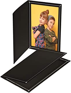 Cardboard Photo Folder 4x6 (100 Pack) - Black Card Folder with Nice Silver Design- Great for Wedding Pictures, Baby, Graduation, Friends and Many More!