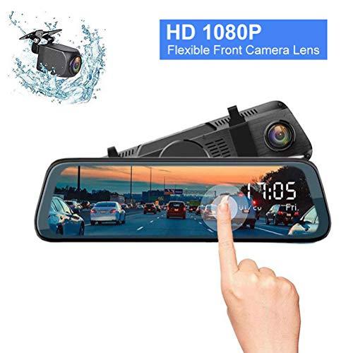 DOS Dashcam Rückfahrkamera Spiegel 10 Full HD 1080P Rückspiegel Loop-Aufnahme Frontkamera Rear Kamera für Nachtsicht Rueckfahrkamera