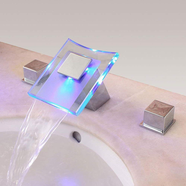BMY LED Modern Fashion Glass Faucet Deck Mount Waterfall Basin Mixer