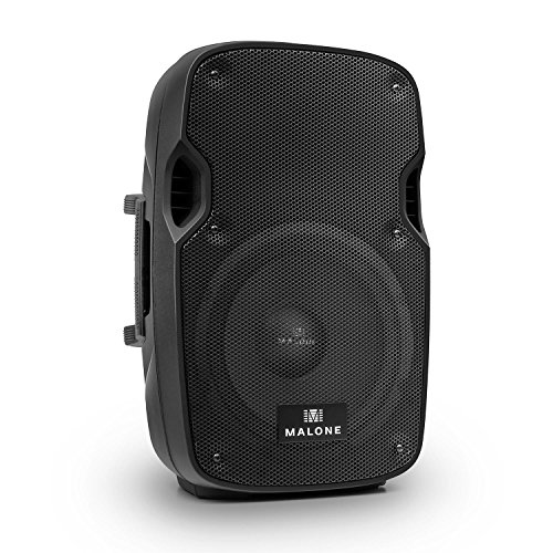 Malone PW-2910A - aktive PA Box, Lautsprecherbox, PA-Lautsprecher, 400 Watt Peak-Leistung, 25,4 cm (10''), Frequenzbereich: 55 Hz - 20 kHz, Bass- / Treble-Regler, schwarz