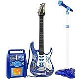 子供 楽器 エレキ ギター プレイ セット アンプ マイク & マイクスタンド バンド おもちゃ [並行輸入品]