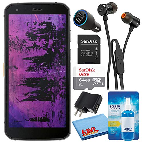 Caterpillar CAT S62 Pro Black 5.7  128GB + 6GB RAM 4G LTE Dual-SIM IP68 Rugged Smartphone (GSM Only, No CDMA) Bundle with 64GB Ultra microSD Card + in-Ear Earbuds + Screen Cleaning Kit + Car Charger