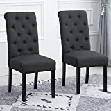 Padding Dining Chair,BELIFEGLORY Set of 2 Wooden Leg High Back Dining ChairUpholstered Fabric Dining Room Chairs Kitchen Chairs