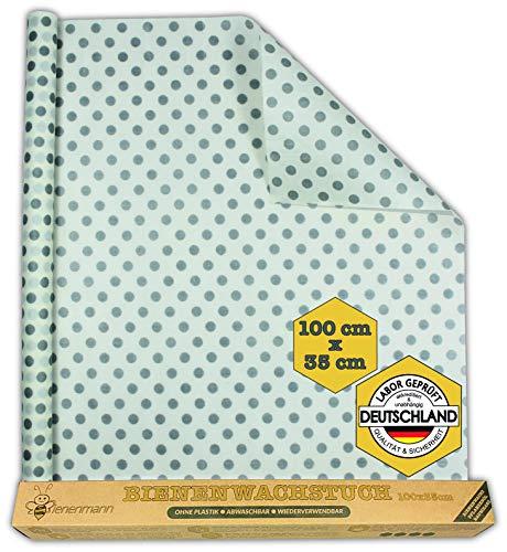Bienenmann Bienenwachstücher Für Lebensmittel Extra Groß & Zuschneidbar Beeswax Wrap Wachspapier Wachstücher Bienenwachs Alternative Frischhaltefolie Wachstuch Lebensmittel 100cm x 35cm