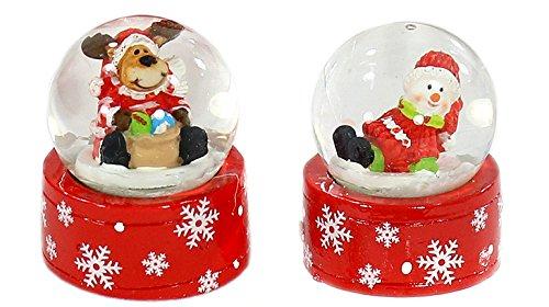 Dekohelden24 Mini-Schneekugel Weihnachtselch/Schneemann im 2er Set, Maße H/B/Ø Kugel: ca. 5 x 3,5 cm/Ø 3,5 cm.