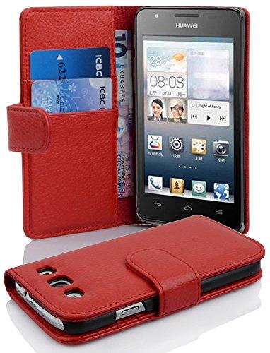 Cadorabo Hülle für Huawei Ascend G525 / G520 in Inferno ROT – Handyhülle aus Strukturiertem Kunstleder mit Standfunktion & Kartenfach – Hülle Cover Schutzhülle Etui Tasche Book Klapp Style
