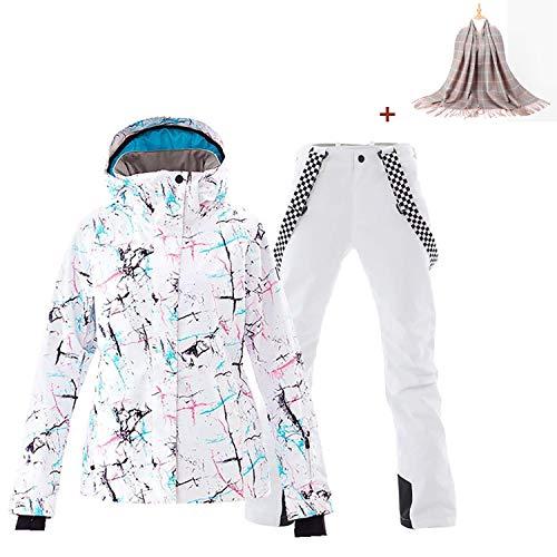 Damen 2 Teilig Skianzug Wasserdicht Schneeanzug Jacke und Hosen Skiset (JDW, X-Small