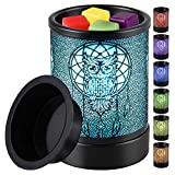 kanlarens Candle-Wax Melts Warmer Wax-Melter Electric - Tart Burner with 7 Color Led Changing Night Light for Home (Black owl)
