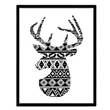 Nacnic Lámina para enmarcar Ciervo Estampado. Imágen de Animales Estampada. Tamaño A4.