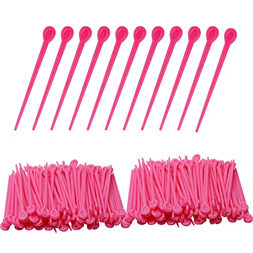 200 Pieces Hair Roller Pins plastic pins roller picks for fixed old fashioned hair rollers and brush roller curlers Hair styling tool needle structure knitting tool (pink)