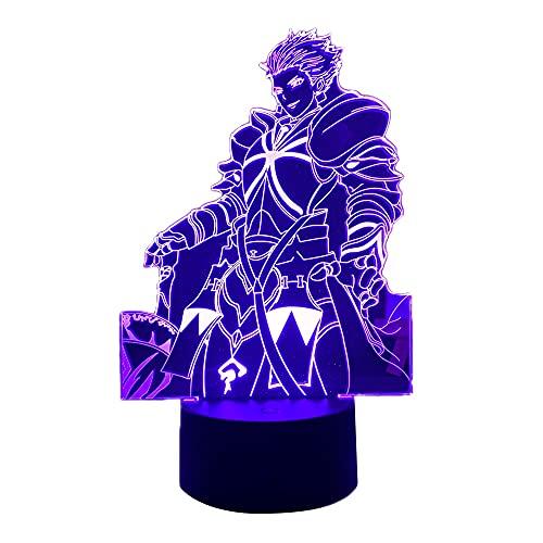 Anime 3D Light Fate Stay Night Gilgamesh para decoração de quarto, presente de aniversário, mangá Fate Stay Night Gilgamesh LED Night Lamp