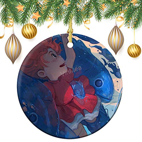 VinMea Round Christmas Ornaments Ponyo Ceramic Decorative Xmas Hanging Ornament Keepsake