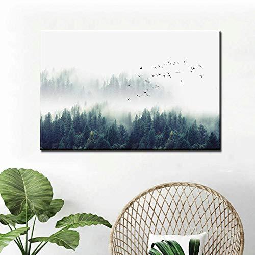Pintar por números para adultos y niños ARTE SIN MANGAS Paisaje nórdico Cuadros decorativos Pinturas de lienzo de bosque para sala de estar Impresiones modernas de arte en lienzo-70x105CM_NO_FRAME