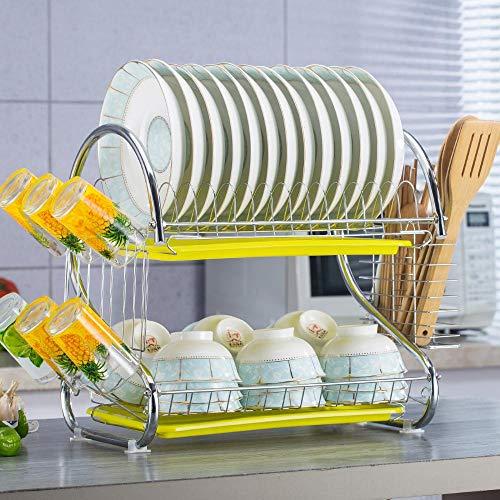 TTXP Rostfreier Stahl Draining Rack 2 Etagen mit Abtropfschale,53x26x38cm / 21x10x15inGelb Kitchen Rack für Das Spülbecken