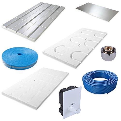 QuickTherm Fußbodenheizung für Trockenestrich 15 m² Komplettpaket mit nur 30 mm Aufbauhöhe - Ideal für die Sanierung im Badezimmer