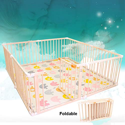 Fantastic Deal! Foldable, Assembly-Free Wooden Playpen, Large Anti-Rollover Safety Fence with Door, ...