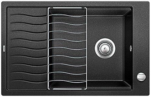 Blanco Elon XL 6 S, Küchenspüle aus Silgranit PuraDur, reversibel, Anthrazit-schwarz/inklusive Tropfgitter im Wellendesign und Ablauffernbedienung, 518735