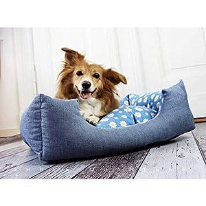 Hundebett, blau, gemütlich, Margeriten, Blumen, Baumwolle, Katze, Hund, Haustier, Schlafplatz, Hundekissen, Kissen…