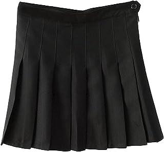 学生 ガール ハイウエストプリーツスカート (S, の黒)
