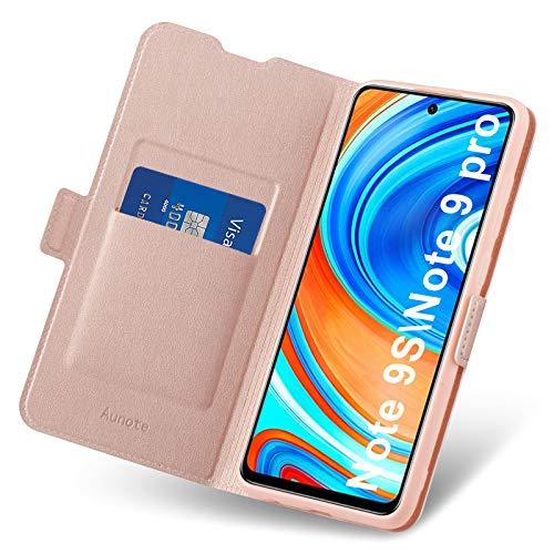 Aunote Xiaomi Redmi Note 9 Pro/9S Hülle, Redmi Note 9 Pro/9S Handyhülle, Hülle Redmi Note 9 Pro/9s mit Kartenfach, Schutzhülle Klapphülle Tasche Leder Etui Folio,Flip Phone Cover Hülle. Rosegold