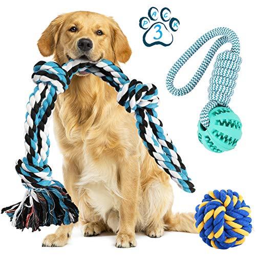 Juguetes de cuerda para perros para mascotas agresivos Chewers-Set de 3 juguetes interactivos de remolcador de guerra para perros pequeños y medianos, juguetes masticables para morder, cuerda de algodón duradera para perros