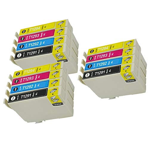 Karl Aiken 12 T1295 - Cartuchos de tinta compatibles con Epson Stylus SX235W SX420W SX425W SX435W SX525WD SX535WD Workforce WF-3520 WF-7515