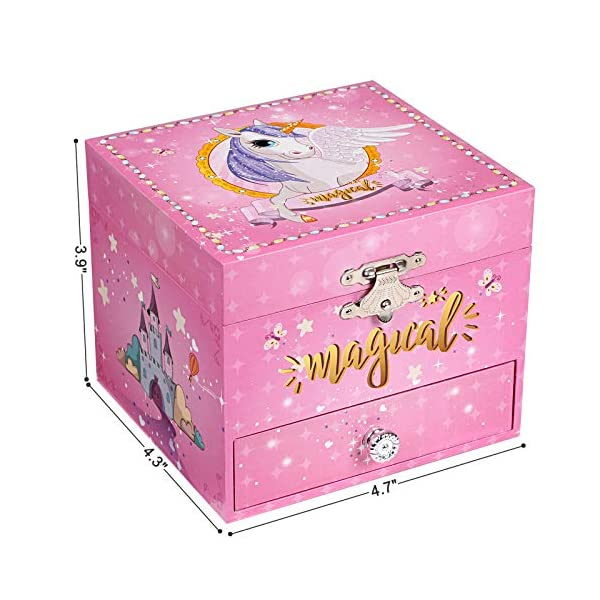 "SONGMICS Musical Jewelry Box, 4.7""L x 4.3""W x 3.9""H, Pink 12"