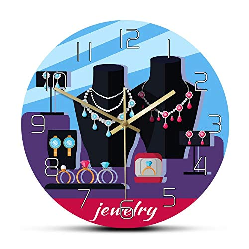 mazhant Reloj de Pared diseñado para escaparate de joyería, Accesorios de Lujo para Mujer, Reloj de Pared de Moda Femenino Decorativo para Estudio de joyería-30X30cm