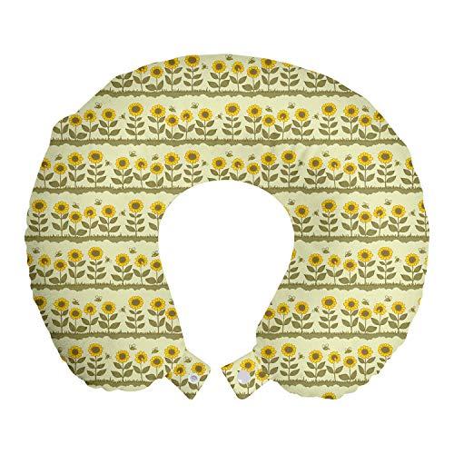 ABAKUHAUS Sonnenblume Reisekissen Nackenstütze, Blumenfeld Blowing, Schaumstoff Reiseartikel für Flugzeug und Auto, 30x30 cm, Hellgrün und Gelb