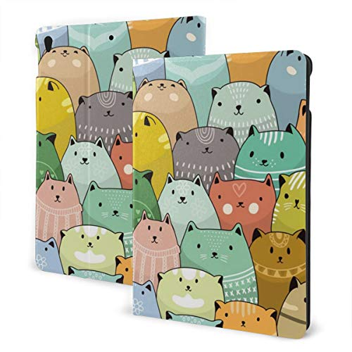 Cartoon Style Cute Colorful Fat Cat Crazy Smiles Kitten Ipad 7th Gen Case 10.2 Inch Slim Smart Stand Back Cover Anti-Scratch Auto Wake/Sleep Ipad Cover for Ipad 7th