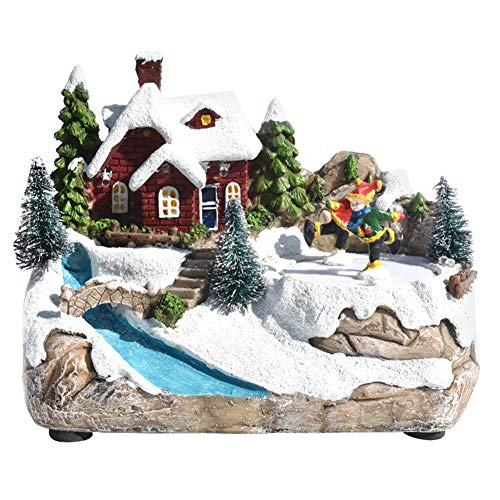 Aiboria Resin Christmas House Villages Collectable Décor Musical Building House Figurine with Warm White LED Light and Rotating Winter Skating Scene, USB/Battery Operate Christmas Ornamnet