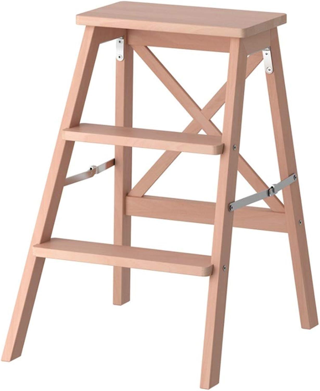 ZAHOYONGLI Stepladders Stepstools Step Ladders 3 Steps Black Wooden Lightweight and Foldable Step Stool Multi Purpose Stepladder Tread Folding Ladders Shelf (color   Wood color, Size   48  63cm)