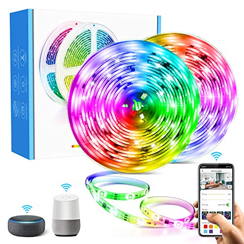 Aerb 10M WIFI Tira LED RGB, Luces LED Smart de 16 millones de colores, Sync con Música, Control de voz, Program Persanalizado, Compatibles con Alexa y Google Assitant, Echo, Para Decoración