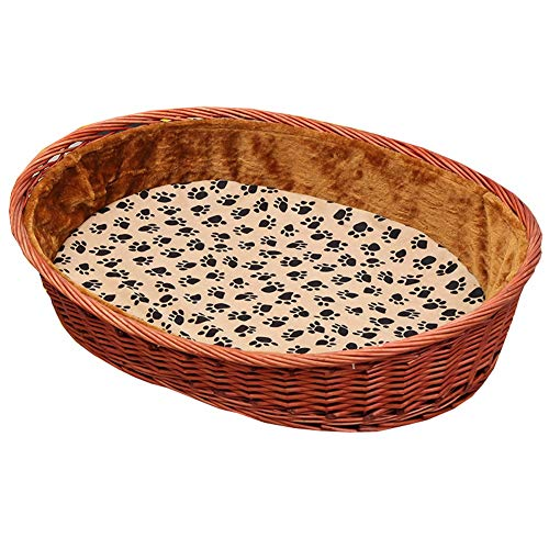 Nesting hond grot bed rotan hond mand hond huisdier nest gevoerde bed Bolster bed voor binnen en buiten gebruik met katoen en bamboe matras huisdier Nest Kennel YUXO, 63X42X13X22CM, D