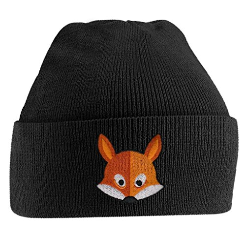 Fox Face Cute Animal Embroidered Beanie Hat Logo Men's