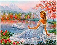 NC56 DIY Acrylic painting kit for girls with digital painting kit Swan Lake is suitable for children adult with paintbrush and canvas artist home decoration