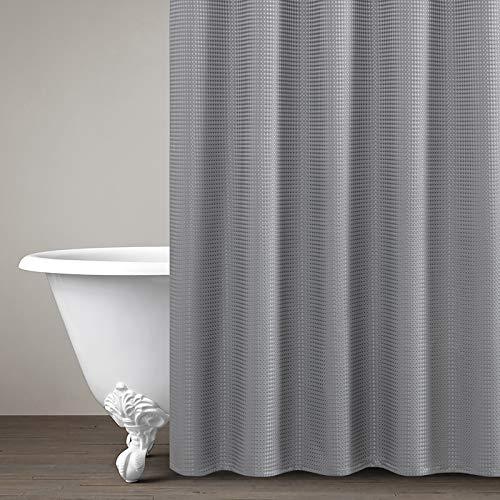 Wasserdichter Duschvorhang für Badezimmer Allmähliches Farbdesign Stoffvorhanghaken mit Ringen One Panel enthalten 177cm*182cm (Grau, 177cm*182cm)